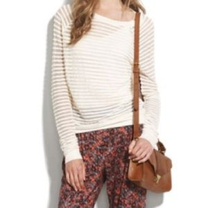 Madewell Hi-Line Sheer Stripe Top in Ivory size S